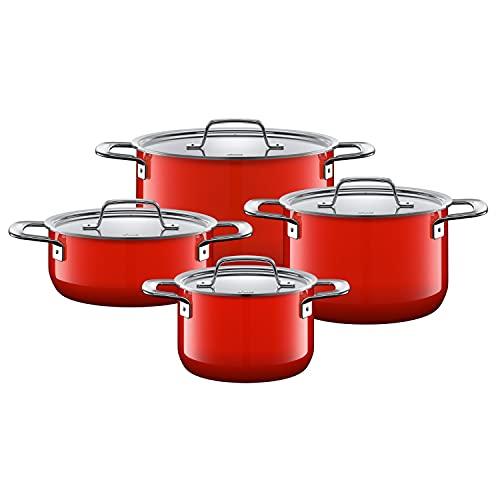 Silit Zeno Red-Batería de Cocina (4 Piezas, con Tapa de Metal, cerámica Funcional, Borde vertedor, inducción, Apta para lavavajillas), Color Rojo, Esmalte, 24 cm, 4 Unidades