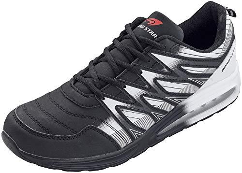 LEKANN 203 - Zapatillas de running para hombre con amortiguación (talla 47-50), color Negro, talla 48 EU