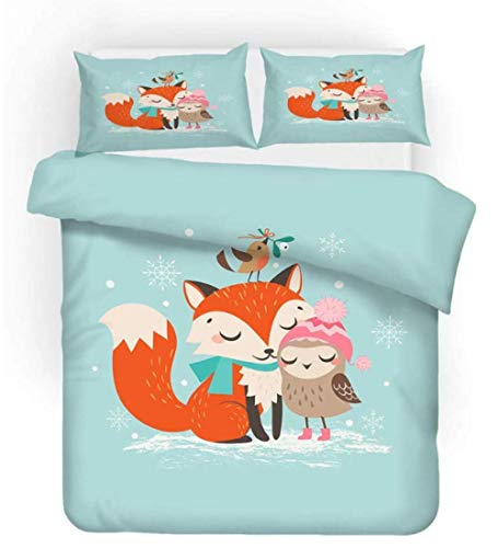 3D Bed Set Fox Bird Easy Care Quilt Cover And Pillowcases, Super Soft Bedding, Poly-Cotton,200Cmx200Cm