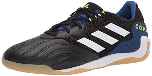 adidas Men's Copa Sense.3 Indoor Sala Soccer Shoe, Black/White/Solar Yellow, 8.5