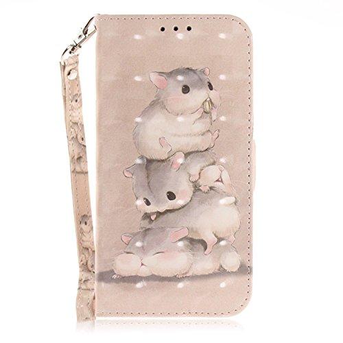 vingarshern Hülle für Alcatel A50 Schutzhülle Etui Tasche Klappbares Magnetverschluss Flip Hülle Lederhülle Handytasche Alcatel A50 Hülle Leder Brieftasche(Hamsters) MEHRWEG
