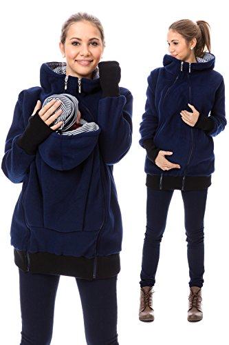 GoFuture Damen Umstandsjacke Hallå 4in1 Fleece mit Hochkragen GF2307XC5 Marine mit marineweißen Streifen - 3