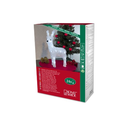 Konstsmide Acrylic reindeer 23cm, LED Apto para uso en interior 24lámpara(s) LED Blanco - Iluminación decorativa (LED, 24 lámpara(s), LED, Blanco, Blanco, Batería, 320 mm)