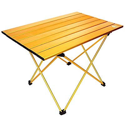 BERSERKER OUTDOOR Portable Camping Table Lightweight Folding Aluminum Table Compact Roll Up Table Top with Carry Bag,Easy to Set Up and Clean, Perfect for Outdoor, Home Use?Small and Medium Two Size?