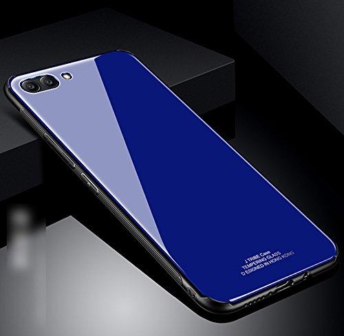 Kompatibel mit Huawei Honor View 10 Hülle,Huawei Honor V10 Hülle,TPU Frame Gehärtetes Glas Back Schutzhülle Hülle Silikon Bumper Hülle Handy Hülle Tasche Schutzhülle für Huawei Honor View 10 Hülle,Blau
