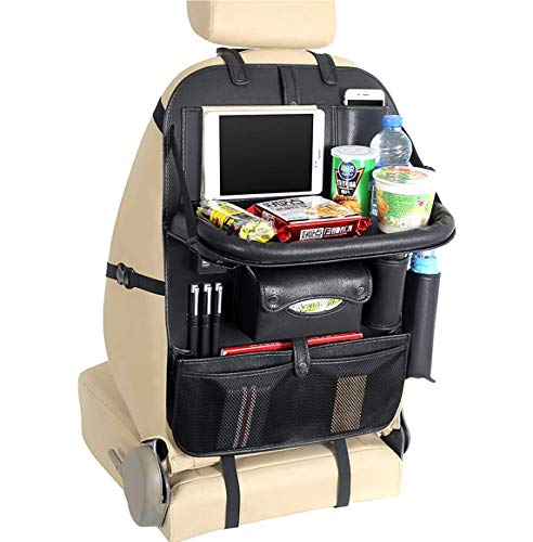 Oneuda PU Leather Car Seat Back Organizer with Table Tray iPad Holder and 4 Charging Port, Universal...