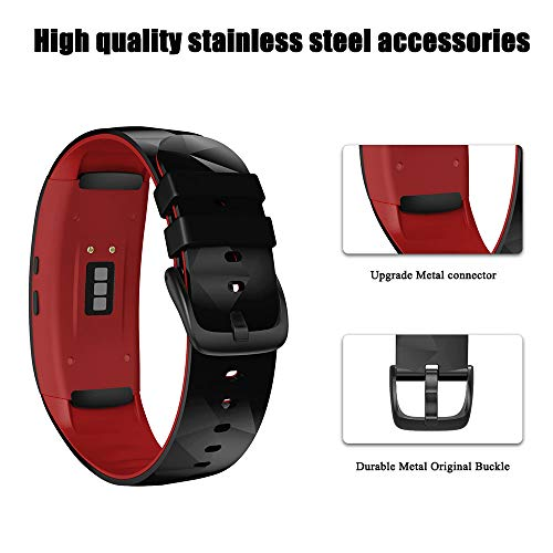NotoCity Compatible con Correa Gear Fit 2 / Gear Fit 2 Pro Silicona Pulsera de Repuesto (L, Negro+Rojo)