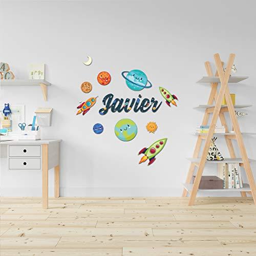 Detalles Creativos | Vinilo con diseño + Nombre en Pegatina Vinilo Personalizado con Figuras Decorativas Infantiles para Pared. Decoración de guardería. para Dormitorio (Universo)