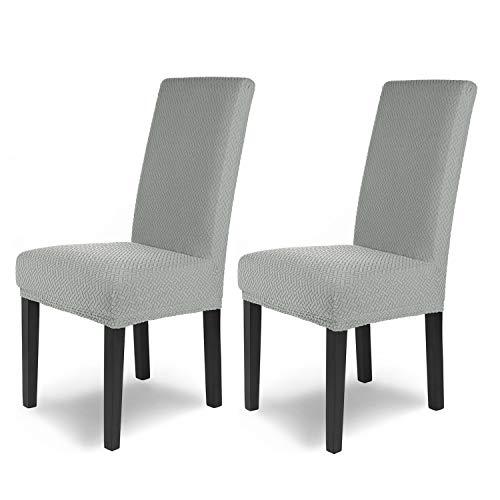 SCHEFFLER-Home Luna 2 Fundas de sillas, Estirable Cubiertas, Chenilla extraíble flexibel Funda con Banda elástica, Gris
