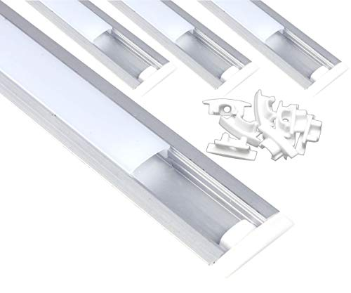 JANDEI - 4 * 1m Perfil aluminio tira led empotrar tapa redondeada traslúcida 24,5x17,5mm