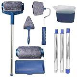 KINDAX Rullo per Pittura con Serbatoio Set di 9pz Incluso un Rullo di Ricambio e Pennelli per Manico, Rulli di Vernice Multifunzione per Verniciare Rapidamente Casa e Giardino