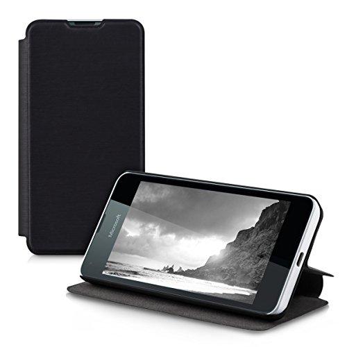 kwmobile Microsoft Lumia 550 Hülle - Flip Handy Schutzhülle - Cover Case Handyhülle für Microsoft Lumia 550 - Schwarz