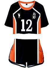 Haikyuu !! TO THE TOP Cosplay Zomer Volleybalpak Trainingspak Blootgestelde Navel Tops + Shorts Sport Korte T-Shirt Kleding Sportkleding Sets