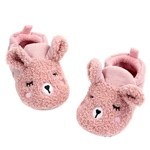 QERMULA Nouveau-né bébé Dessin animé Animaux Oreilles Pantoufles Hiver Chaud en Peluche Anti-dérapant Berceau Chaussures bébé Chaussures Dessin animé Rose