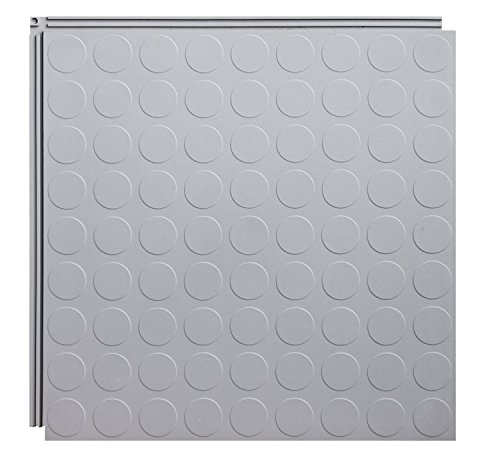 Resilia Flexible Interlocking Snap Floor Tiles – Protective Flooring for Your Garage, Home, Office or Gym, Light Gray Color, Coin Texture, 12-inch, 0.25-inch, 10 Pack