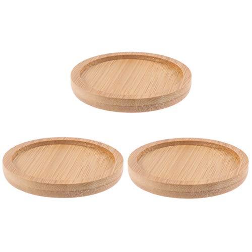 Yardwe - Confezione da 3 sottovaso rotondo in bambù, per la maggior parte dei vasi da fiori, soluzione per il vaso a forma di gufo con foro, moderno vaso di fiori in ceramica bianca