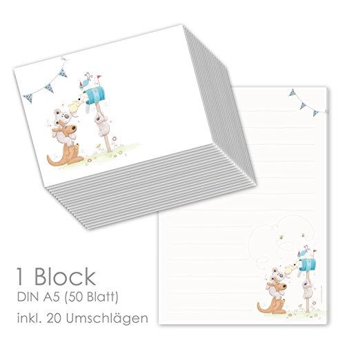 Schreibblock/Briefblock'POST FÜR DICH' DIN A5 (liniert 50 Blatt) inklusive 20 passenden Umschlägen/Briefpapier Set