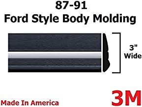 Automotive Authority LLC 1987-1991 Ford Black/Chrome Side Body Trim Molding Rocker Panel Pickup Truck - 3