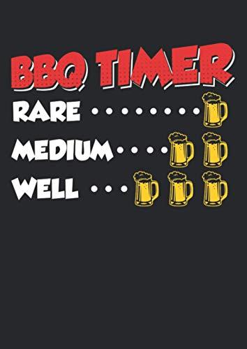 Notizbuch A4 kariert mit Softcover Design: BBQ Timer Grill Uhr Männer Bier Geschenk Spruch Steak: 120 karierte DIN A4 Seiten