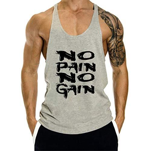Hombre Suelto Tank Top Casual Culturismo Algodón Camisetas Sin Mangas de Tirantes Deportes Gimnasio