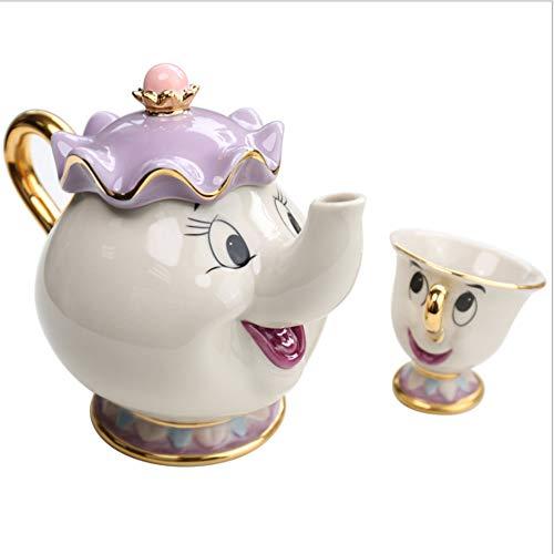 feichang Taza de té con diseño de dibujos animados de la Bella y la Bestia con texto en inglés 'Mrs Potts', un juego de taza de té con texto en inglés 'Good Birthday' (color: 1 taza y 1 olla).
