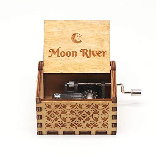 GSHGS Miniatura Caja Musica De Madera Caja De Musica Vintage Movimiento De Caja De Música con Manivela Niños Y Amigos 0D