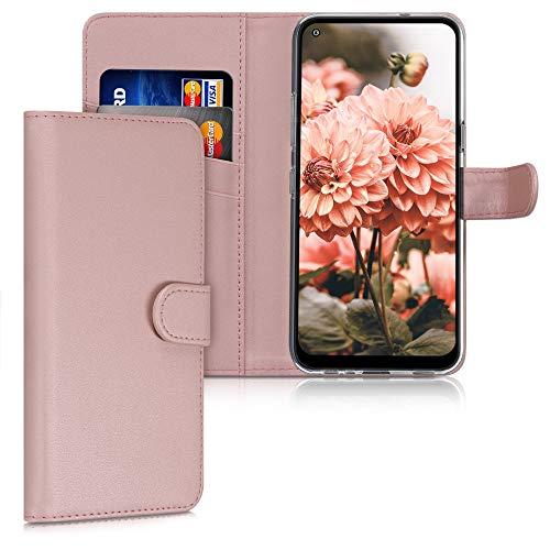 kwmobile Hülle kompatibel mit LG K61 - Kunstleder Wallet Hülle mit Kartenfächern Stand in Rosegold