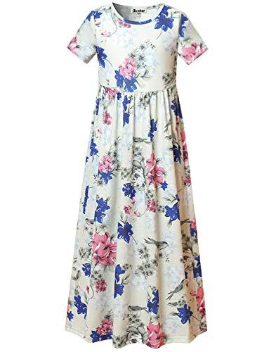 Teen Girls Maxi Dresses Size 12 13 Floral Summer Dress Casual Holiday Sun-Dress