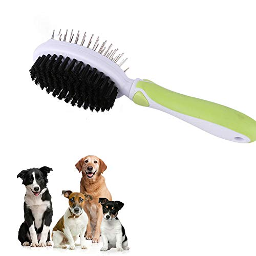 DGHJK Dog Brush and Cat Brush, Pet Grooming Comb 2 Sided Bristle and Pin for Long and Short Hair Dog Removing Shedding Hair Easily Groom Long Hair and Short Hair