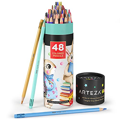 Arteza Kids Erasable Colored Pencils, Set of 48, Triangular Pencil Crayons, Pre-Sharpened, Art Supplies for School, Home, Doodling, and Drawing