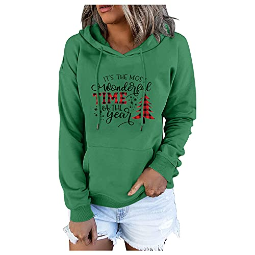 BEUU Women's Pullover Hoodies Tops Casual Fashion Christmas Reindeer Long Sleeve Sweatshirts with Pockets for Teen Girls Christmas Hat for Family Ceremony Party Gift for Wife for Daughter for Dad