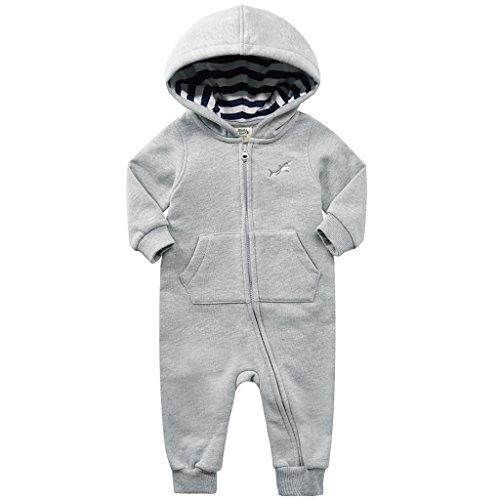 Miniizone babyromper met capuchon, katoen, eendelig, lange mouwen, pak met ritssluiting -  zwart - 12-18 meses