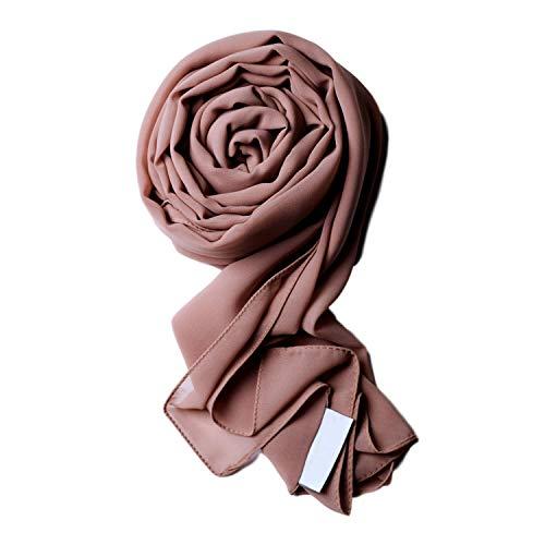Voile Chic 8 Colors Earth Grey Premium Chiffon Wrap Head Scarf (Non-Slip)