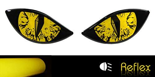 BIKE-label 910066VA - Pegatina reflectante 3D para casco de moto, color amarillo