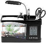 JeeKoudy Mini pecera, acuarios de sobremesa USB con Agua Corriente, Reloj de Tiempo LCD, Alarma, lámpara LED Colorida, Calendario de luz, 5 Modos de Naturaleza Tranquila