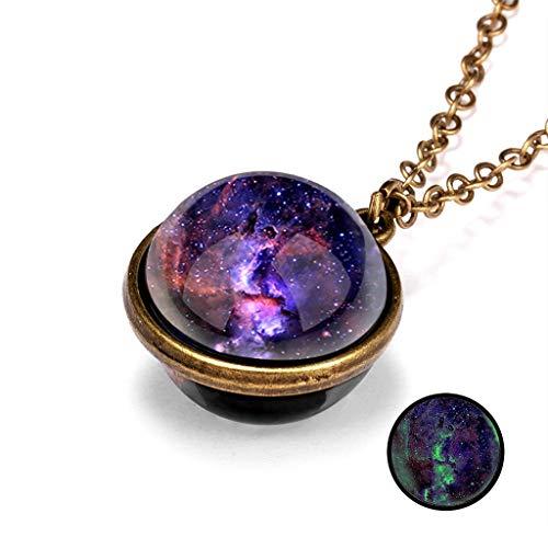 Janly - Collar para mujer con sistema de galaxia brilla en la oscuridad, doble cara, cristal con cúpula planeta colgante para el día de San Valentín, color, talla L