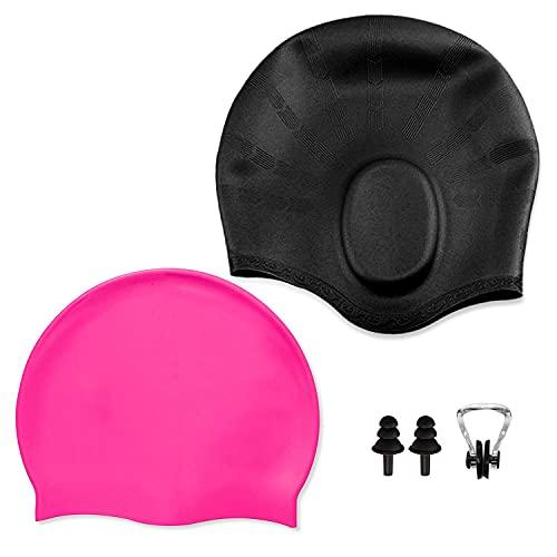 Gorro de natación Gorro de natación de silicona unisex, resistente al agua y protección para el cabello, 2 juegos, 2 estilos, tapones para los oídos y pinzas nasales gratis