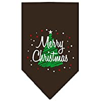 Mirage Pet Products 66-25-15 SMCO Scribble Merry Christmas Screen Print Bandana Cocoa Small