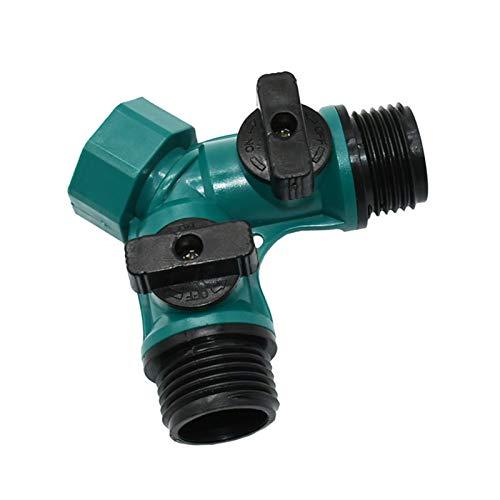 BDZC Conector de Doble Cabezal Splitter del Divisor de Grifo de 3/4 Pulgadas 2 para el jardín del jardín Válvula de irrigación Flexible Adaptador de Conector rápido 1pcs preservativo (Color : Green)
