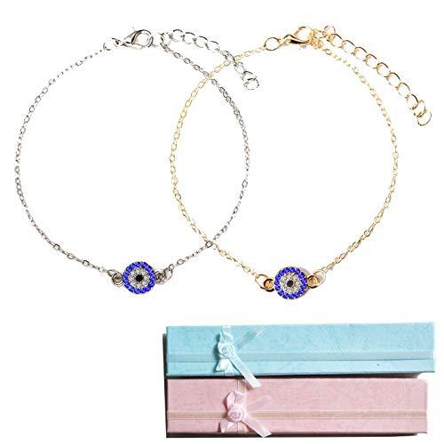 Pulsera De Ojo Malvado Tobillera Pulseras De Cristal Azul Turco Playa Minimalista Joyería De Pie Tobillera De Amuleto Bohemio Ajustable Para Mujer
