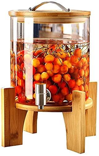Barm Dispensador de Bebidas con Grifo de Acero Inoxidable, Botella de Jugo de Vidrio con Soporte de Madera, Grifo de Acero Inoxidable de diseño Vintage + Base de bambú, Botella de Vino de uva-5L