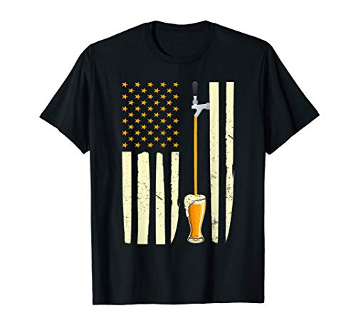 Funny Craft Beer American Flag USA T-Shirt 4th July Brewery