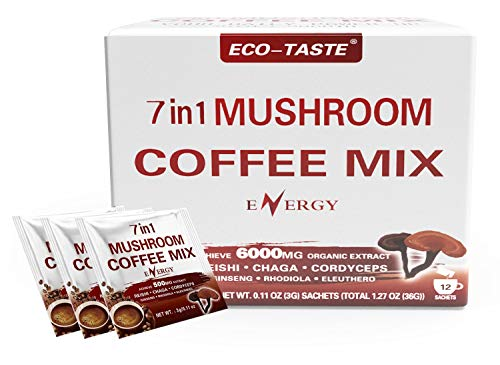 Mushroom Coffee Mix 7 in 1, TCM Designed for Energy with Reishi, Cordyceps, Chaga, Rhodiola, Ginseng, and Eleuthero Mushroom Extracts – 12 Sachets