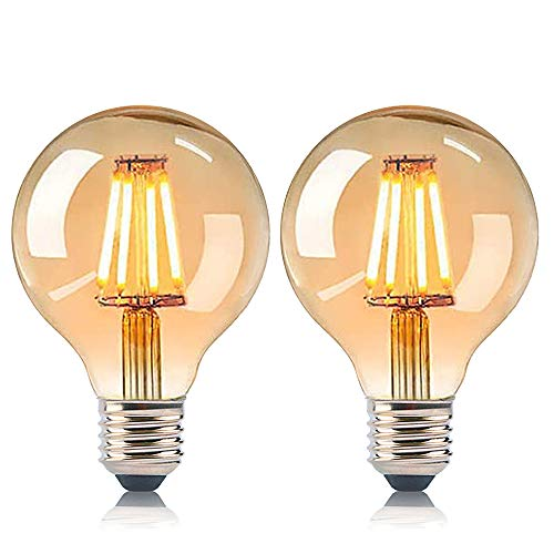 IVEOPPE [2-Pack] Bombilla Vintage Edison E27 G80 40W, 220v-240v Incandescente Antigua Retro Decorativas Lampara Bulbo Esférica Ambar Regulable Blanco Cálido