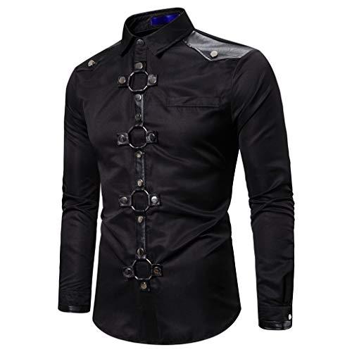 AmyGline Herren Hemd Retro Steampunk Langarmhemd Leder Knopf Shirt Top Bluse Business Hochzeit Party Punk Kleidung