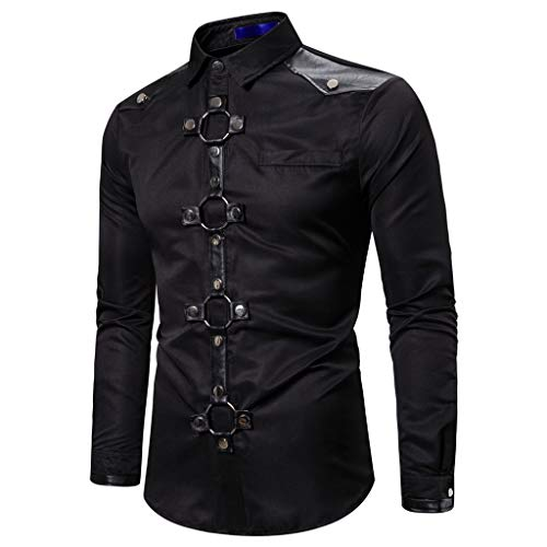 Azruma Herrenhemd Slim Fit Jacke Retro Gothic Gehrock Uniform Kostüm Steampunk Für Party Hochzeit Abend Winterjacke Revers Hemd