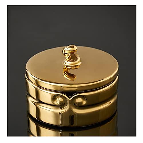 Cenicero de regalo Cenicero de cerámica de oro redondo con tapa de la oficina Decoración de la mesa de la mesa de galvanoplastia Proceso de metal Ceniza de ceniza Cigarette Decoración del hogar Cenice