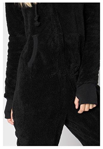 Eight2Nine Damen Jumpsuit aus kuscheligem Teddy Fleece | Overall | Ganzkörperanzug mit Ohren black1 S/M - 6
