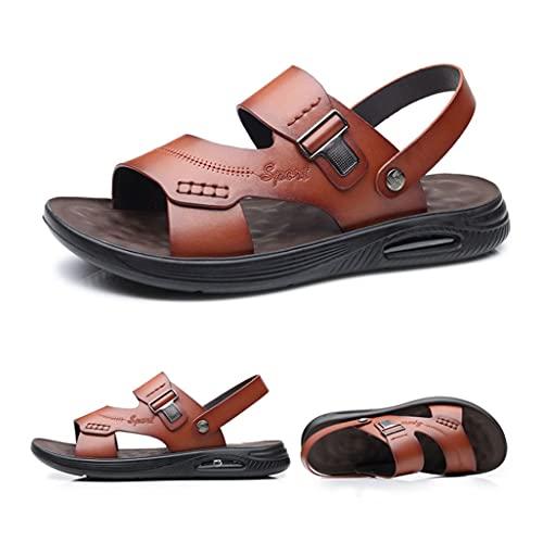 PIANAI Sandalias de cojín de Cuero de Verano/Zapatos de Playa de Suela Suave Informales Transpirables para Hombres/Sandalias y Zapatillas 2021,Naranja,43