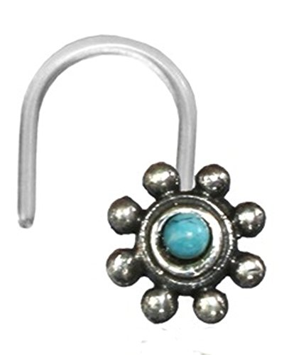 Nostril Piercing Silver Nose Stud Screw End Bioflex 0.8 mm Silver Stones | Nose Jewellery Bar Thickness Approx. 0.8 mm | Unisex Women Men Tribal Design Nose Piercing Clear Transparent Turquoise flower